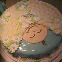 Baby Shower Cake With Royal, Bc, & Mmf MMF with BC basketweave and Royal Icing Flowers