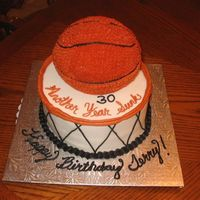 30Th Birthday Basketball Cake   Basketball cake with 3-D ball on top....another year sunk!! For a guy who was turning 30!!