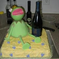 Kermit The Frog  Here is that wine - muppets cake, thatnks to brianbaker for th idea!! Kermit is all MMF (the head is a styrofoam ball), and teh square cake...