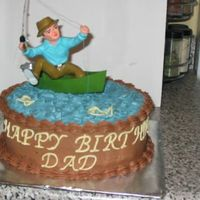 Fisherman Cake  I was so burned out after doing (6) cakes previous to this one, that I had no idea what do do for this cake, it was for a friends fathers b...