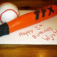 Baseball & Bat Made this for a little boy on my sons T-ball team. Since the boys are all about Baseball this was a HUGE hit at the party!!! FYI - The bat...