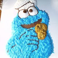 Cookie Monster I made this for fun. I got the pan from my grandmothers collection & I have been wanting to do this cake for awile so when we had a...