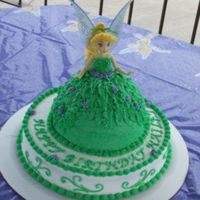 Tinker Bell I made this for a 2yr old b-day party. Doll was chocolate & bottom round was white cake. Buttercream icing.