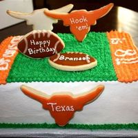 Longhorn Birthday Cake This was one of my favorite cakes to do! Birthday cake for a favorite client's son who always likes cookies on the cake. Hook 'em...
