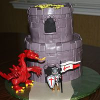 Castle Cake The cake is dark chocolate cake with MMF. This was a lot of fun - and challenging. Learned a lot by the time I was done! Based on a cake in...