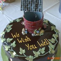 Wish You Well Made for a coworker. Spice cake with buttercream icing and dark chocolate ganache. Gumpaste decorations. Wishing well instructions from...