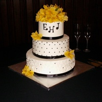 Black White Yellow Wedding Cake