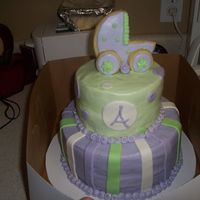 Babyshower_Cake_002.jpg Buttercream with MMF and cookie carriage on top. Got the idea from several cc's on here. Thanks!!!