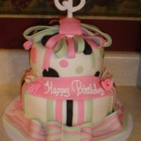 Pink,black And Green Monogramed Cake cake covered in buttercream then fondant,accents all fondant, inital on top is of royal icing