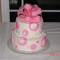 Pink Circle Baby Shower This is my first stacked cake I did for a friends baby shower. I, of course, can see lots to improve on but my friend was thrilled with it...