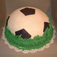 Soccer Cake She wanted a soccer themed cake. I browsed all the pictures I could find to get ideas. Thanks everyone. They loved it. She actually dropped...