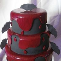 "I 'vant To Suck Your Blood! 3-tiers decorated with fondant (red was painted to look ""bloody""). Thanks for looking!"