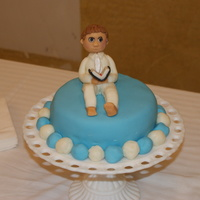 Carsten's Baptism Cake Fondant covered and fondant figure.