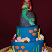 "Caitlin's 6Th Birthday Mermaid Cake, 12"" & 8"" tiers. Rock- carved styrofoam covered in fondant. All fondant and gumpaste figures and shells. Thanks..."