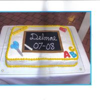 Back To School Cake I made this while I was still taking the Wilton classes for our staff luncheon on our first day back. Buttercream wiith chocolate molded...