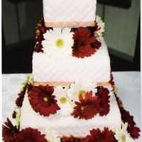 Quilted Square My first square wedding cake. Two layers of chocolate, and one layer french vanilla, all filled with buttercream, and fresh strawberry...