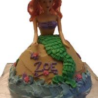 Little Mermaid   Little Mermain birthday cake. Wilton Wonder Doll mold, royal and buttercream icing. Hair was dyed red by sitting in jello!