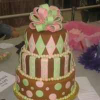 Pink, Green And Brown Tiered Cake This is the cake I entered for my first time in the beginner division at the Oklahoma Sugar art Show. I didn't win a ribbon but I...