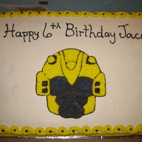 Bumblebee Transformers Cake 1/2 sheet cake with buttercream. I used piping gel to transfer image to the cake.