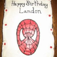 Spiderman frosted with buttercream. face and eyes are MMF outlined with black buttercream.