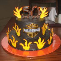 Flaming Harley 50Th Birthday Cake Thanks to all you fellow CCR's for the inspiration for this cake!! The frosting is chocolate buttercream. The decorations are color...