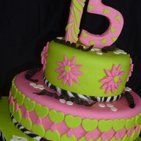 "Green And Pink Teen Cake 10"" and 6"" vanilla cake with cinnamon buttercream and white chocolate cinnamon ganache, covered in MMF."