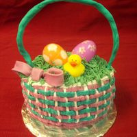 Easter Basket cake is covered in buttercream, the handle is fondant