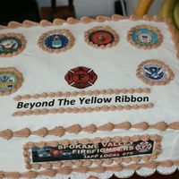 Honoring Military Coming Back From War This is a cake my fire fighter husband and I worked on for a dinner being put on by the fire fighters for some local military coming home...