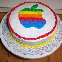 Apple Rainbow Cake This is the cake I ended up doing for my second class in course 1. I had to finish most of it at home but I think it turned out pretty good...