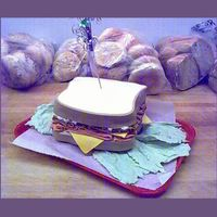 Kristys Sandwich kristy loves a deli sandwich on white bread everyday fro lunch so when her b-day rolled around what else could her cake be? fondant meat,...