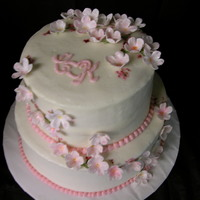 Cherry Blossom Wedding Shower Buttercream with MMF/Gumpaste blend, cherry blossoms. Made to match invitations. Thanks to all who post their wonderful work and ideas. I...