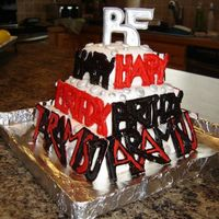 Tara's Red, Black And Silver Birthday Cake Got the idea for this cake from Collette peters Birthday Cakes book. Her favorite colors are red, black and silver as you can see. The...