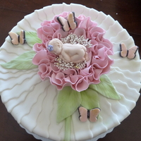 Baby Shower Cake MMF ribbons, stem, leaves and butterflies, GP baby and flower. Thanks lea for the inspiration and advice!