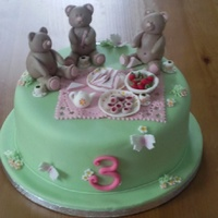 Teddy Bears' Picnic Vanilla sponge covered with fondant. All models made out of fondant.
