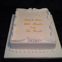 Church Retirement Vanilla sponge covered with fondant. Royal iced border.