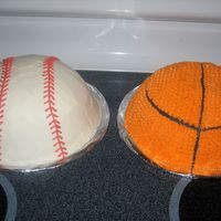 Basketball & Baseball Cakes These were made for my son's 5th birthday. The baseball was choclate with smooth Buttercream and the basketball was Yellow cake with...