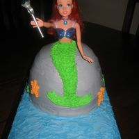 "Ariel-The Little Mermaid French Vanilla Cake with all Buttercream icing. I used the Disney Gem Princess Ariel doll. The sheet cake ""ocean"" is a Wilton..."