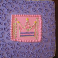 1St Birthday Princess Tiara Cake  14in square cake pan. Classic White cake, Buttercream icing. I think my icing was a bit dry?? You can see where some of the detail has...