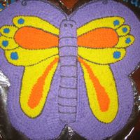 Butterfly Cake   Made from 4, 10in round cakes. Buttercream icing.