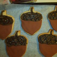 Thanksgiving Cookies (Acorns) NFSC with fondant and royal icing.
