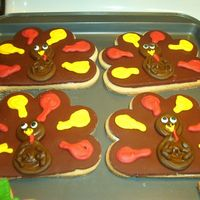 Thanksgiving Cookies (Turkeys) NFSC with fondant and royal icing.