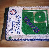 Baseball Birthday Cake 11 x 15 sheet cake, buttercream icing, all freehand lettering