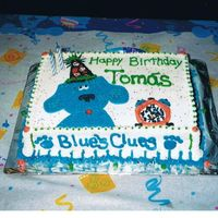 Blue's Clues Birthday Cake B-Day cake for my son's 2nd bday. He LOVED blue's clues then ...11x15 sheet cake, all buttercream frosting, freehand artwork