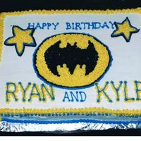 Batman Birthday Cake two-layer, 9x13 in cake, buttercream frosting, freehand lettering
