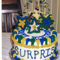 Surprise Birthday Cake b-day cake for my mom's surprise party. the star accents are made of rice krispy treats. 3-layer 10 in. chocolate cake, all...