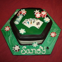 Poker Cake Done for a lovely woman who loves to bet on poker! Cards are marshmallow fondant that is hand painted. All other decorations are...