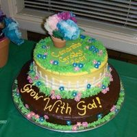 Grow With God Kindergarten Graduation Cake   Butter cream and chocolate frosting, fondant flowers
