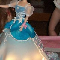 Cinderella Cake   Made a bell shaped cake, covered it with fondant, stuck a barbie in the top, and gave her clothes and decorated her dress.