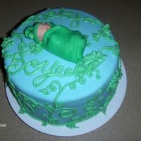 Baby Pod Used MMF, and cinnamon buttercream. Baby hand molded from MMF and gumpaste.