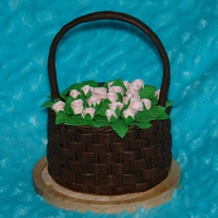 A Basket Of Roses Chocolate sponge cake covered with ganache, and fully decorated with MMF (leaves and roses are colored mmf and basket weave is chocolate...